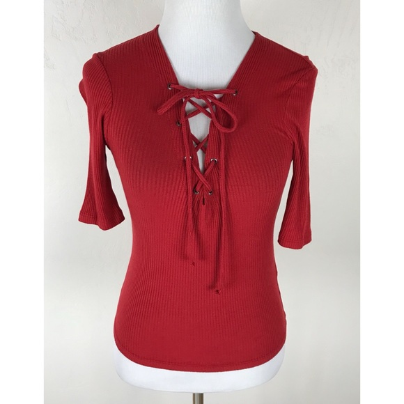 Topshop Tops Red Lace Up Ribbed Top Poshmark